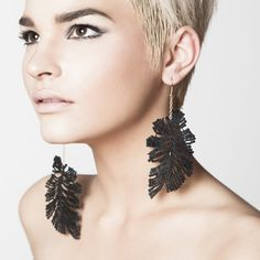 Lace earrings Ostrich feathers Black lace with gold by thisilk, $46.00
