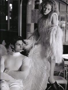 """Angeli & Diavoli""   Elle Italy October 2008  Photo: Karl Lagerfeld Models: Erin Heatherton, Baptiste Giabiconi, Sébastien Jondeau"
