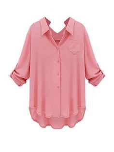 Ladies Plus Size Blouses, V-Neck, Turn Down Collar, Pink, Navy, White
