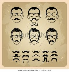 Faces with Mustaches, sunglasses,eyeglass es and a bow tie. bitmap version - stock photo