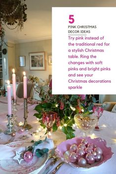 Try pink instead of the traditional red to give your Christmas decorations, tree and table a stylish twist. #christmas #middlesizedgarden #backyard #garden Pink Christmas Decorations, Garden Party Decorations, Vintage Garden Parties, Insect Hotel, Christmas Garden, Natural Christmas, Diy Wreath, How To Make Wreaths, Bright Pink
