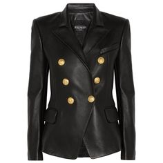 Balmain Black Leather Peaked Lapel Tailored Blazer Jacket