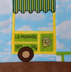 Lemonade stand foundation paper pieced quilt block pattern; downloadable summer quilt block pattern; Ms P Designs USA by MsPDesignsUSA on Etsy