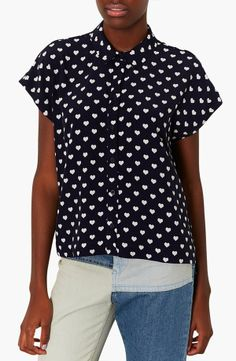 Navy & White Heart Print Blouse