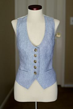 blue linen vest/waistcoat via AlterationsNeeded.com