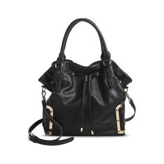 Women's Solid Tote Handbag with Drawstring Closure, Black ($50) ❤ liked on Polyvore featuring bags, handbags, tote bags, black, black tote bag, black purse, moda luxe, moda luxe handbags e black handbags