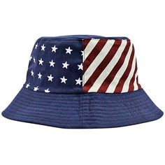df05f3fa523be Navy Blue Patriotic Flag Print Reversible Bucket Hat ( 19) ❤ liked on  Polyvore featuring