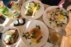 Breakfast in New York- On the left there, Eggs Benedict in a bowl. Rather than a towering stack, a chopped up, manageable bowl of poached eggs, bacon, muffin (GF), all drizzled in a much lighter, fresher alternative to Hollandaise; Meyer lemon cintronette.