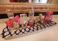My favorite vanity ever. I love the Juicy Couture perfume bottle. If I only I liked the scent...