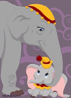 Dumbo & His Mother by Bianca Dumbo Baby Shower, Baby Dumbo, Baby Elephant Nursery, Elephant Art, Disney Films, Disney Pixar, Disney Characters, Disney Posters, Disney Cartoons