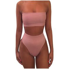 Women's 2 Piece Solid Bandeau Swimsuit Top Bottom Set Size: S.  Color: Pink.  Gender: Female.  Age Group: Adult.