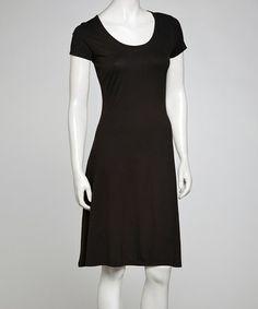 Love this Black Scoop Neck Shift Dress on #zulily! #zulilyfinds