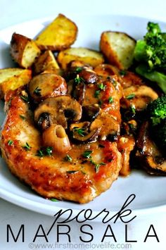 Pork Marsala with Mushrooms and Shallots by firsthomelovelife: A crazy simple yet scrumptiously great dinner, served in 30 minutes or less. #Pork_Marsala #Easy