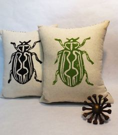 Hand Block Printed Beetle Insect Pillow In by ecarlateboutique