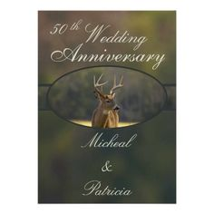 Hunting Wedding Anniversary Invitation Camo Green This unique 50th wedding anniversary Invitation features wildlife nature animal photography from the Great Smoky Mountains national park. This whitetail buck photo was taken in the Cades Cove area and has a natural camouflage background