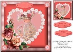 Victorian Ladies Card Front 2  on Craftsuprint designed by Diane Furniss - A Quick and Easy Card Front.This beautiful design fits onto a 8 x8 Inch Card with enoughRoom for Matting if Required. - Now available for download!