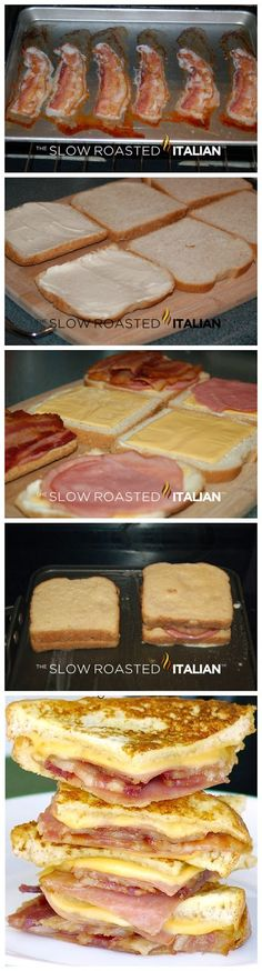 Bacon Monte Cristo Finger Sandwiches Ingredients 8 slices bacon, thick cut 8 sliced bread (I used honey wheat that I had on . I Love Food, Good Food, Yummy Food, Tasty, Brunch Recipes, Breakfast Recipes, Easy Cooking, Cooking Recipes, Sandwich Ingredients