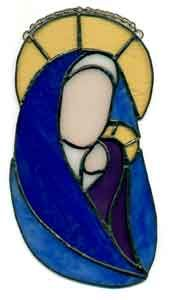 Stained Glass Christmas Madonna and Child Window Hanging