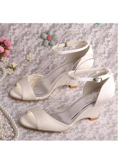 8f05ac113dc Buy discount Fantastic Satin Upper Open Toe Wedge Heel Wedding Shoes at  Dressilyme.com Wedge