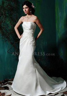 A line Satin Strapless Asymmetric Waist Sleeveless Floor Length Wedding Dress