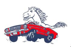 A mustang driving a ford mustang. Mustang Tattoo, Ford Mustang Logo, Vintage Mustang, Pony, Monster Trucks, Snoopy, Sketches, Artwork, Fictional Characters