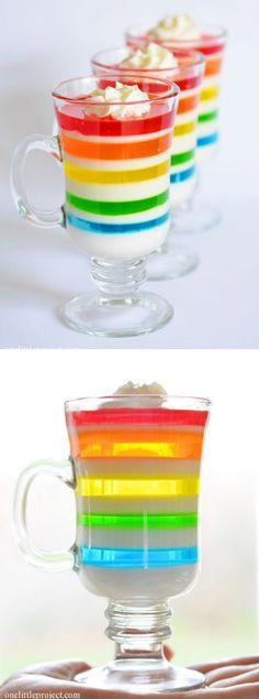 Rainbow Jello Dessert