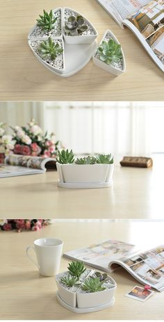 Creative Combination Triangle White Ceramic Planter With Tray