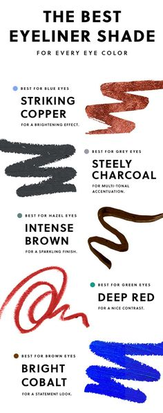 Here's our guide to the best eyeliner shade for your eye color. Get all the beauty tips here. Simple Eyeliner, Perfect Eyeliner, Best Eyeliner, How To Apply Eyeliner, Kohl Eyeliner, Eyeliner Waterline, Eyeliner Brands, Eyeliner Pencil, Eyeliner Makeup
