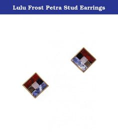 Lulu Frost Petra Stud Earrings. This earring stud is inspired by ancient tile work and cobbling techniques. The beauty is in the collaging of imperfect semi-precious stones within a clean antique gold metal setting.