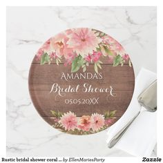Shop Rustic bridal shower coral flowers rustic brown cake stand created by EllenMariesParty. Country Style Wedding, Rustic Style, Rustic Wedding, Dahlia Flower, Flowers, Wedding Cake Stands, Bridal Shower Rustic, Cake Plates, Custom Cakes