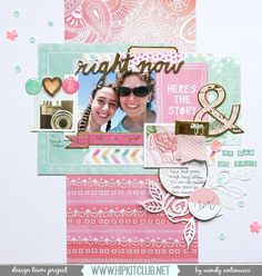 Here is another layout I created with the April Hip Kit Club for the NSD pastel challenge. I have a video to share with you, enjoy! Scrapbook Journal, Scrapbook Sketches, Scrapbook Page Layouts, Scrapbook Pages, Scrapbooking Ideas, Smash Book Pages, Hip Kit Club, American Crafts, Layout Inspiration