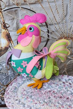 *FELT ART ~ Cock 'o' the Walk by Calsidyrose, via Flickr