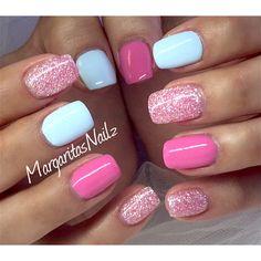 Pink and baby blue gel mani @MargaritasNailz
