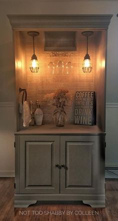 Repurposed wardrobe armoire converted to a lighted dry bar - by Not Too Shabby by Colleen www.facebook.com/not2shabbyct