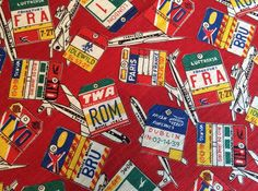 1m VTG Fabric 50s 60s Airplane Logo Tag Textured Cotton Material Curtain Remnant   eBay