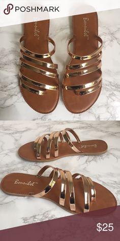 Rose Gold Strappy Slide Sandal Metallic rose gold strappy slide sandal. Comfy & cute! Shoes Sandals