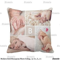 Modern Grid Monogram Photo Collage Custom Cushion