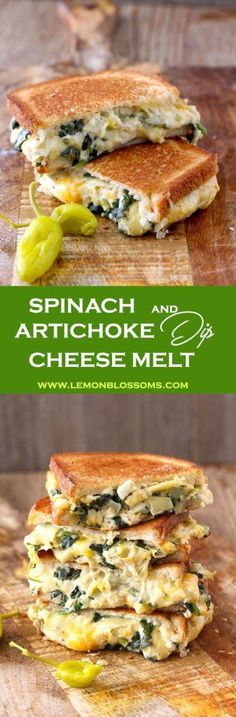 Buttery and toasty bread with an incredibly gooey and delicious filling. This easy Spinach and Artichoke Dip Cheese Melt is everything a grilled cheese sandwich should be and then some!! The addition of peperoncini adds brightness and zing to this delicious sandwich