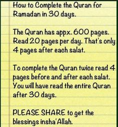 How to complete Quran in Ramadan Quran Quotes Inspirational, Islamic Love Quotes, Muslim Quotes, Religious Quotes, Islamic Images, How To Read Quran, Learn Quran, Learn Islam, Ramadan Day