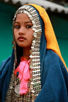 Portrait of a young Rana Tharu woman, Nepal