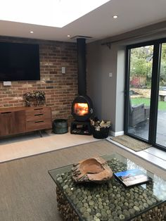 Scan 66 installed with twin wall flue system House Design, House, Home, Open Plan Kitchen Dining, Small Lounge, Open Plan Kitchen Living Room, New Homes, Log Burner Living Room, House Extension Design