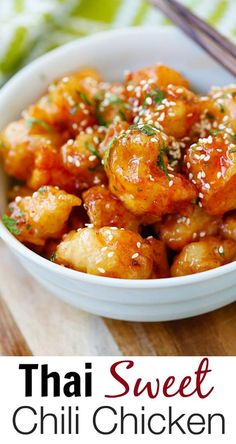 Thai Sweet Chili Chicken – amazing and best-ever chicken recipe with sticky…