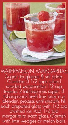 Watermelon Margaritas - add a little Triple Sec #watermelon #margaritas