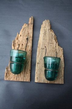 Set of Two Barn Wood Rustic Reclaimed Candle by timelessjourney -- old wood and glass insulators from power lines. Barn Wood Crafts, Barn Wood Projects, Reclaimed Wood Projects, Diy Projects, Salvaged Wood, Insulator Lights, Glass Insulators, Electric Insulators, Luminaria Diy