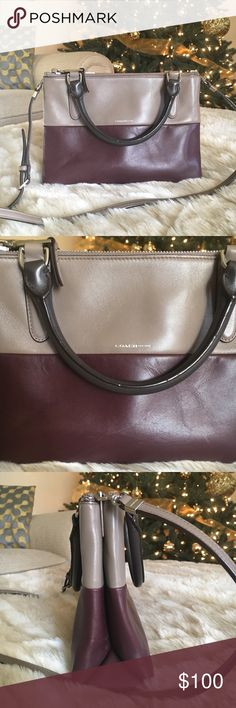 """Coach Mini Borough Bag In excellent condition, gold-tone hardware, dual rolled top handles, detachable shoulder strap, black lining, three compartments at interior Measurements height 7""""x width 9.5""""x depth 3"""" color gray and oxblood Coach Bags Mini Bags"""