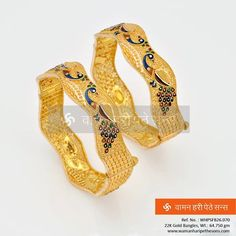 Gold Bangles with peacock design to suit this season. Gold Ring Designs, Gold Bangles Design, Gold Jewellery Design, 1 Gram Gold Jewellery, Gold Jewelry, Gold Kangan, Peacock Jewelry, Gold Ornaments, Peacock Design