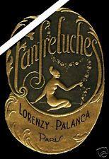 French Perfume Label: Art Deco Antique Embossed Fanfreluches Palanca Paris