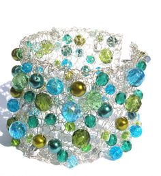 Sea Green Bracelet Knitted Wire Bracelet Beaded by frenchsoul, $27.00