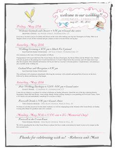 Custom Wedding Weekend Itinerary, via Etsy.