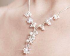 Braut Halskette, Brautschmuck, Pearl und Crystal Bridal Y Collier Brautschmuck